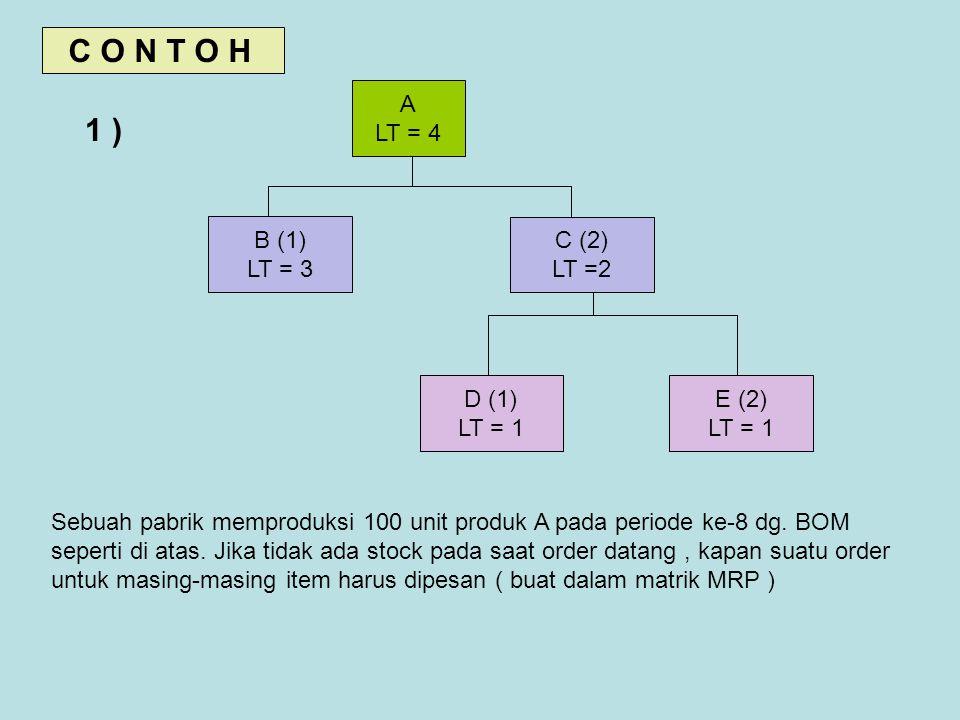 C O N T O H 1 ) : A LT = 4 B (1) LT = 3 C (2) LT =2 D (1) LT = 1 E (2)