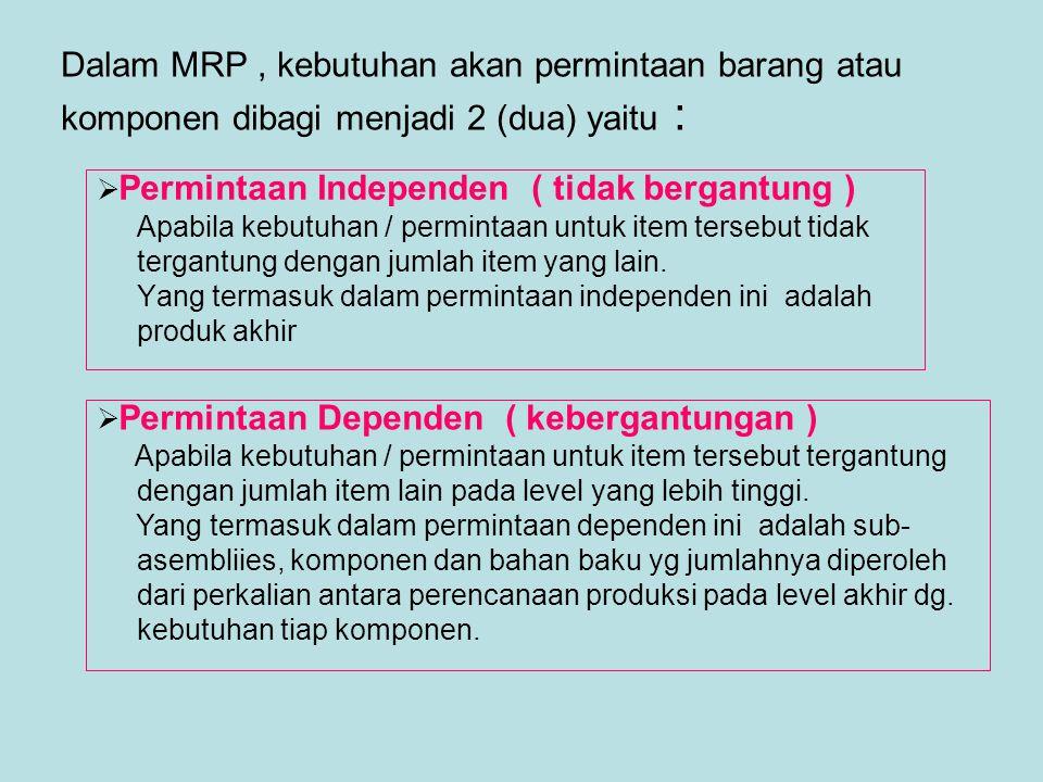 Dalam MRP , kebutuhan akan permintaan barang atau komponen dibagi menjadi 2 (dua) yaitu :