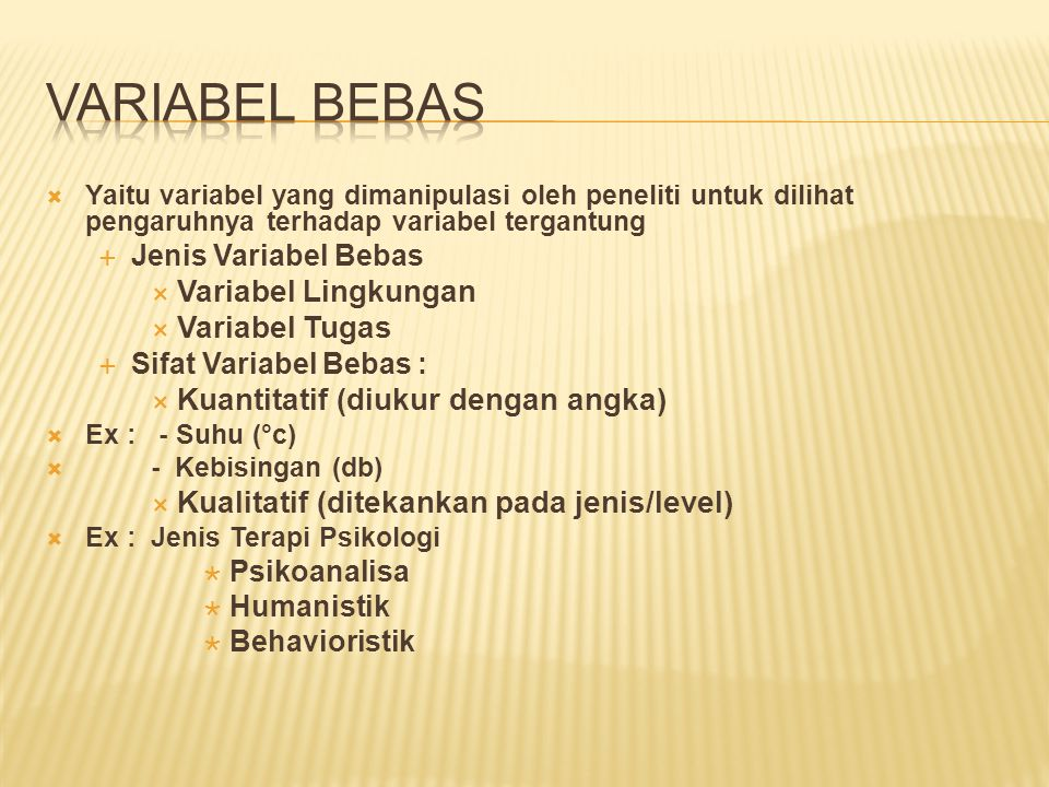 VARIABEL BEBAS Variabel Lingkungan Variabel Tugas