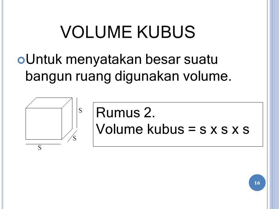 VOLUME KUBUS Untuk menyatakan besar suatu bangun ruang digunakan volume.