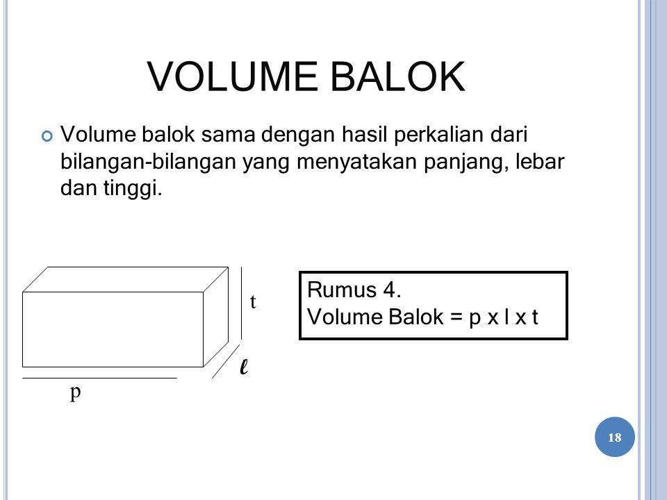 VOLUME BALOK Volume balok sama dengan hasil perkalian dari bilangan-bilangan yang menyatakan panjang, lebar dan tinggi.