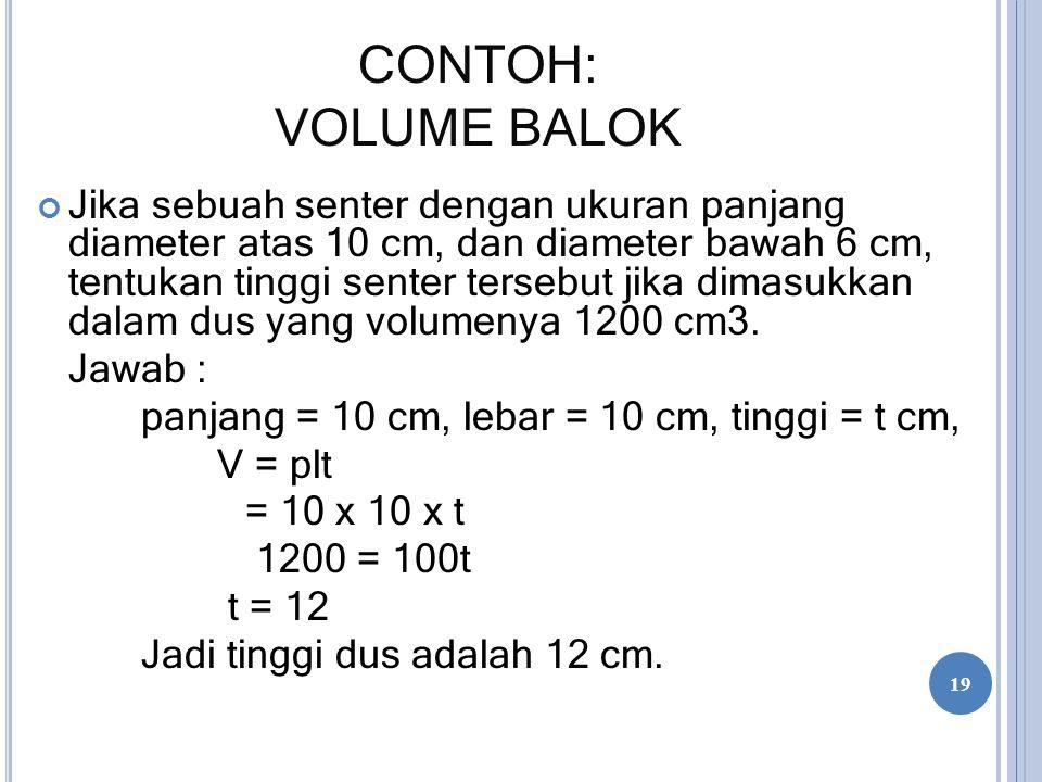 CONTOH: VOLUME BALOK