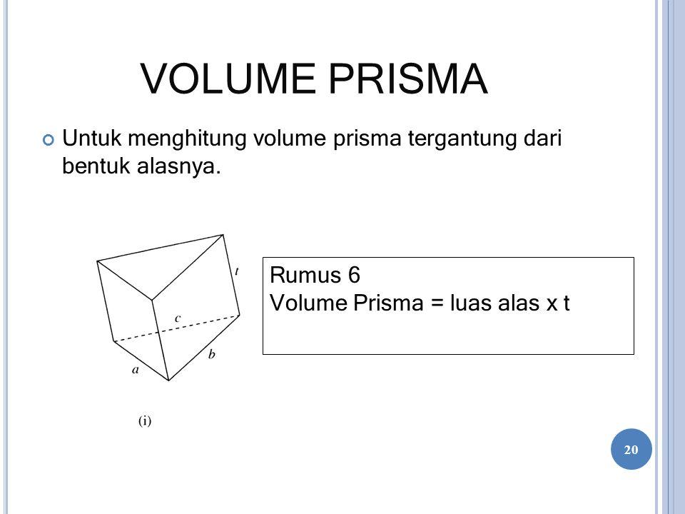 VOLUME PRISMA Untuk menghitung volume prisma tergantung dari bentuk alasnya.
