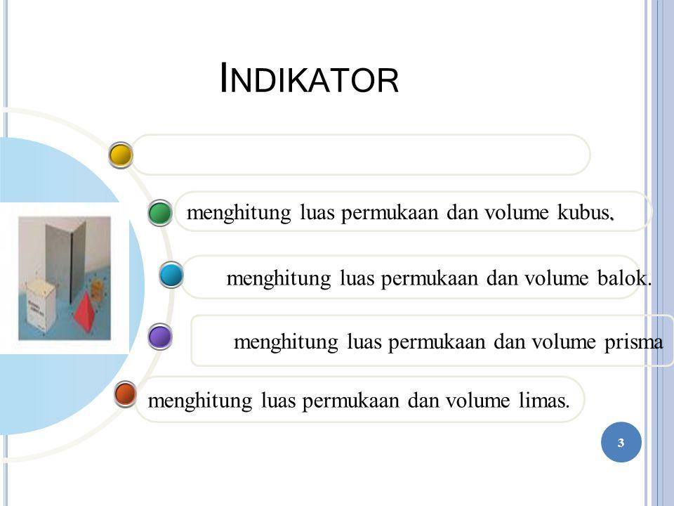 Indikator menghitung luas permukaan dan volume kubus.