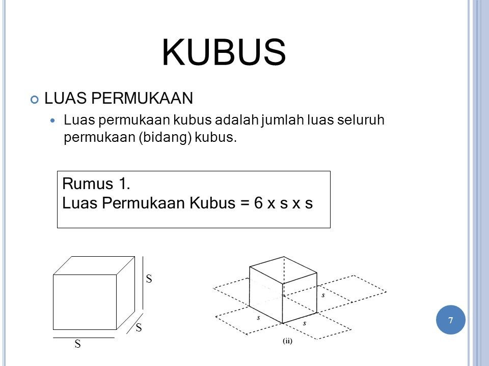 KUBUS LUAS PERMUKAAN Rumus 1. Luas Permukaan Kubus = 6 x s x s