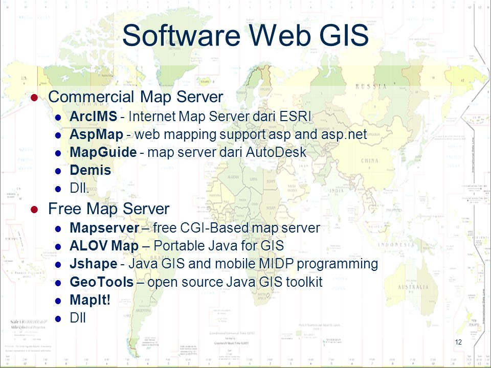 Software Web GIS Commercial Map Server Free Map Server
