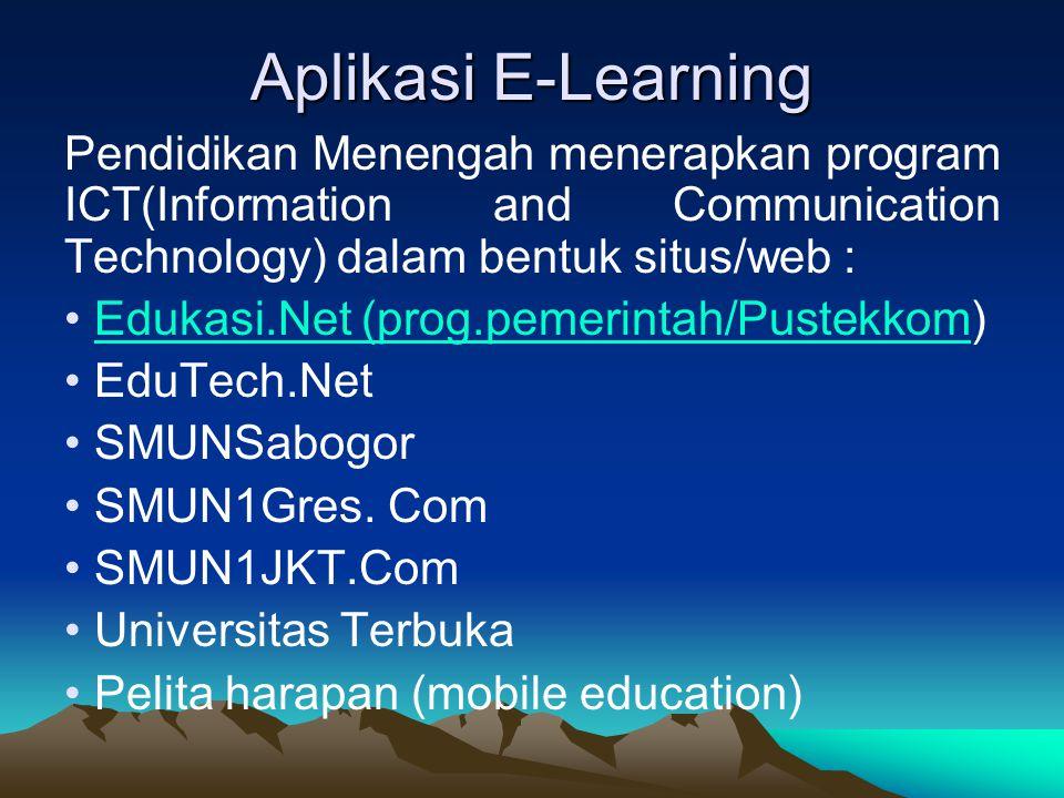 Aplikasi E-Learning Pendidikan Menengah menerapkan program ICT(Information and Communication Technology) dalam bentuk situs/web :