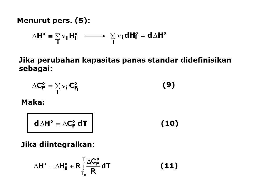 Menurut pers. (5): Jika perubahan kapasitas panas standar didefinisikan sebagai: (9) Maka: (10) Jika diintegralkan:
