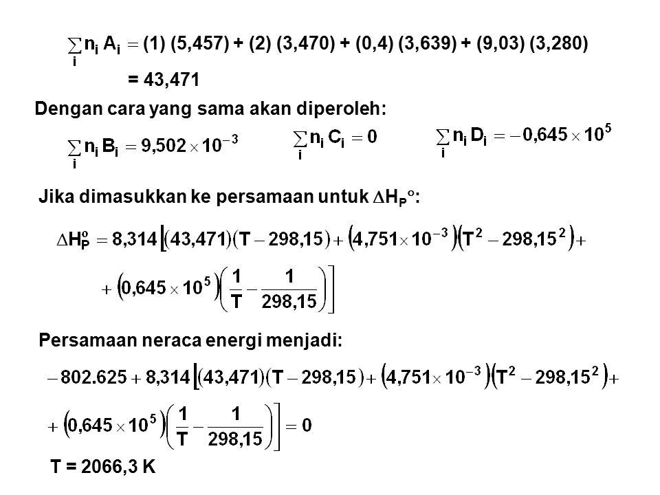 (1) (5,457) + (2) (3,470) + (0,4) (3,639) + (9,03) (3,280) = 43,471. Dengan cara yang sama akan diperoleh: