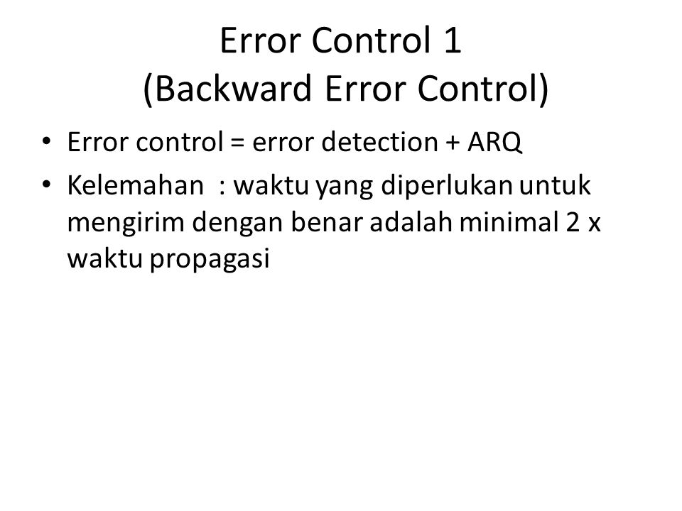 Error Control 1 (Backward Error Control)
