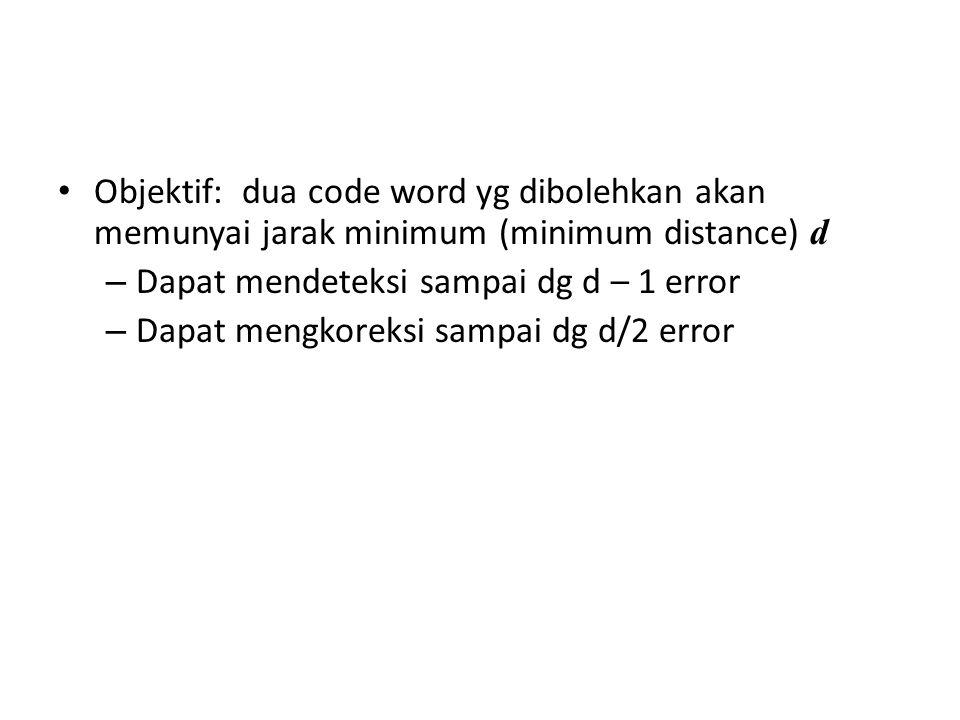 Objektif: dua code word yg dibolehkan akan memunyai jarak minimum (minimum distance) d