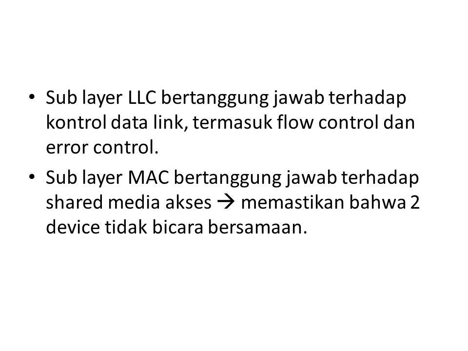 Sub layer LLC bertanggung jawab terhadap kontrol data link, termasuk flow control dan error control.