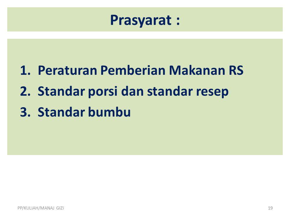 Prasyarat : 1. Peraturan Pemberian Makanan RS