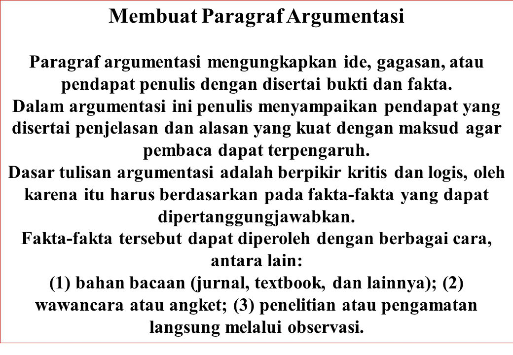 Membuat Paragraf Argumentasi