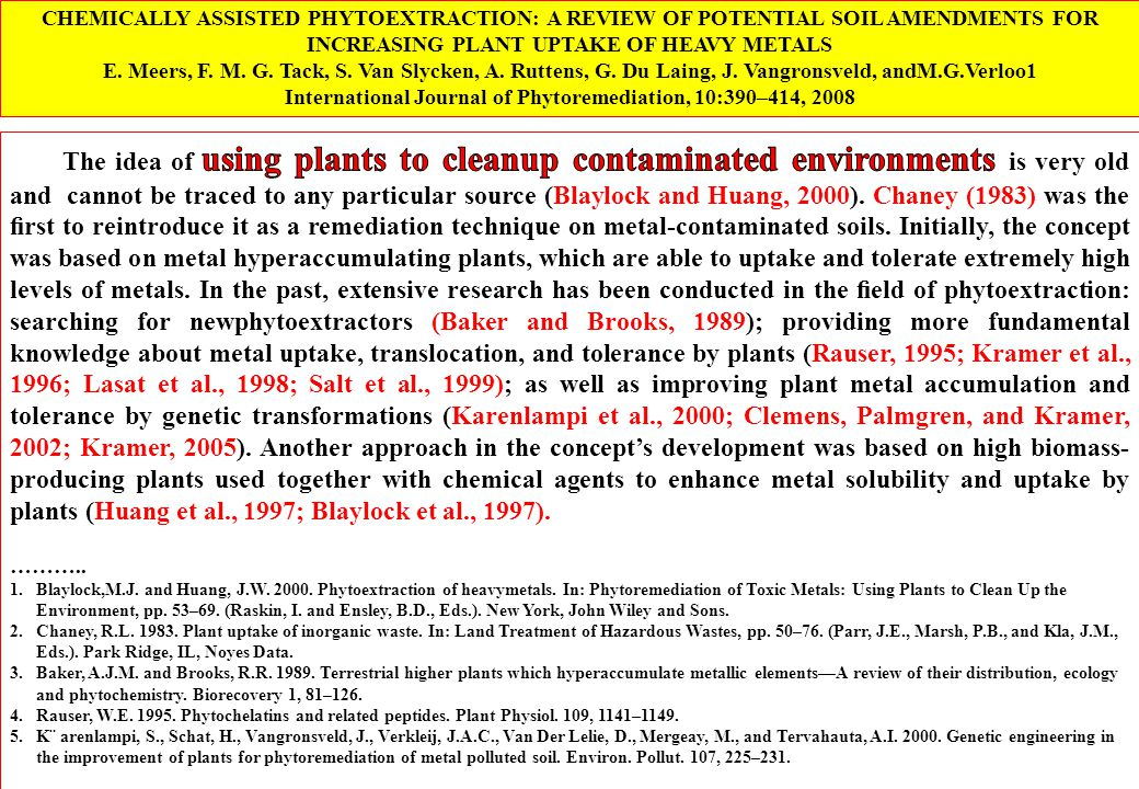 International Journal of Phytoremediation, 10:390–414, 2008