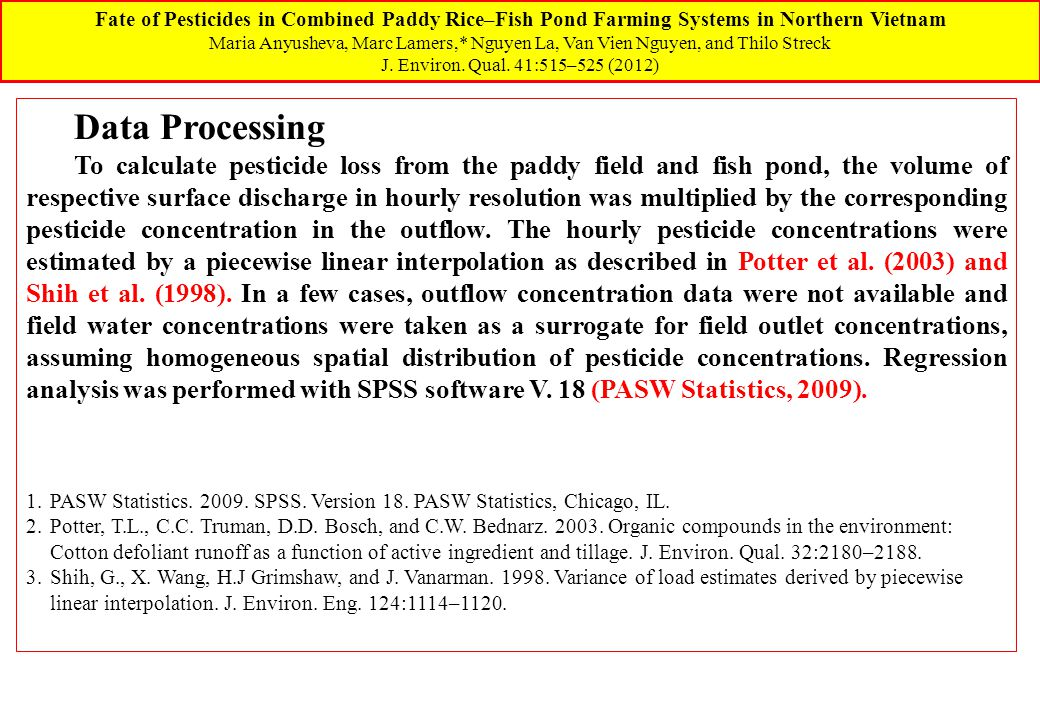 Fate of Pesticides in Combined Paddy Rice–Fish Pond Farming Systems in Northern Vietnam