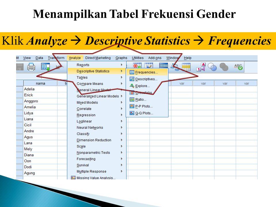 Menampilkan Tabel Frekuensi Gender