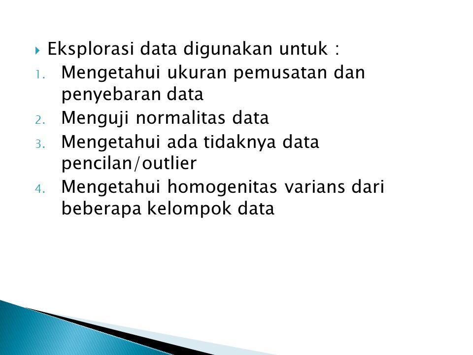 Eksplorasi data digunakan untuk :