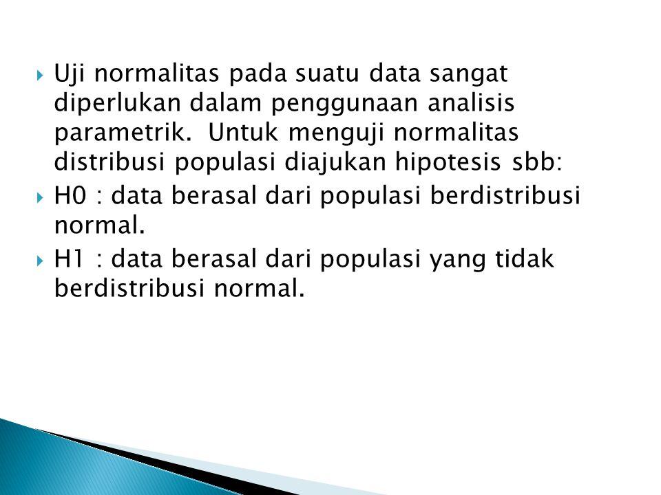 Uji normalitas pada suatu data sangat diperlukan dalam penggunaan analisis parametrik. Untuk menguji normalitas distribusi populasi diajukan hipotesis sbb: