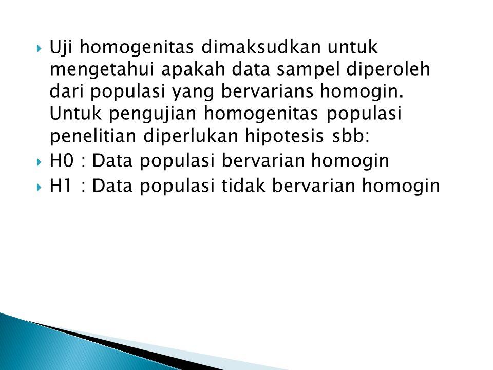 Uji homogenitas dimaksudkan untuk mengetahui apakah data sampel diperoleh dari populasi yang bervarians homogin. Untuk pengujian homogenitas populasi penelitian diperlukan hipotesis sbb: