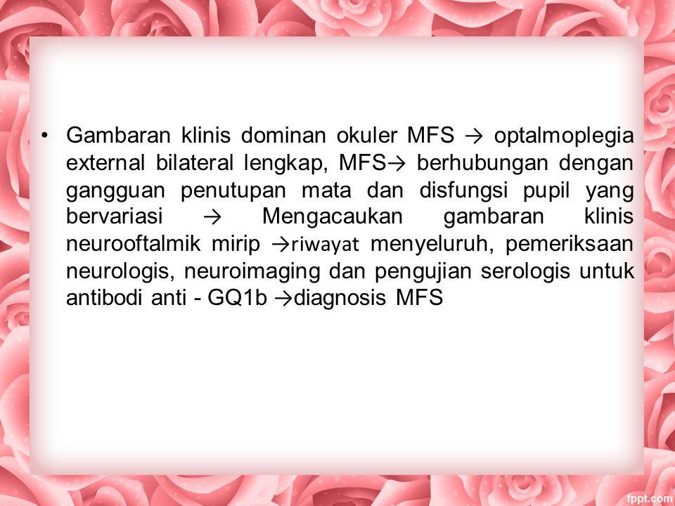 Gambaran klinis dominan okuler MFS → optalmoplegia external bilateral lengkap, MFS→ berhubungan dengan gangguan penutupan mata dan disfungsi pupil yang bervariasi → Mengacaukan gambaran klinis neurooftalmik mirip →riwayat menyeluruh, pemeriksaan neurologis, neuroimaging dan pengujian serologis untuk antibodi anti - GQ1b →diagnosis MFS