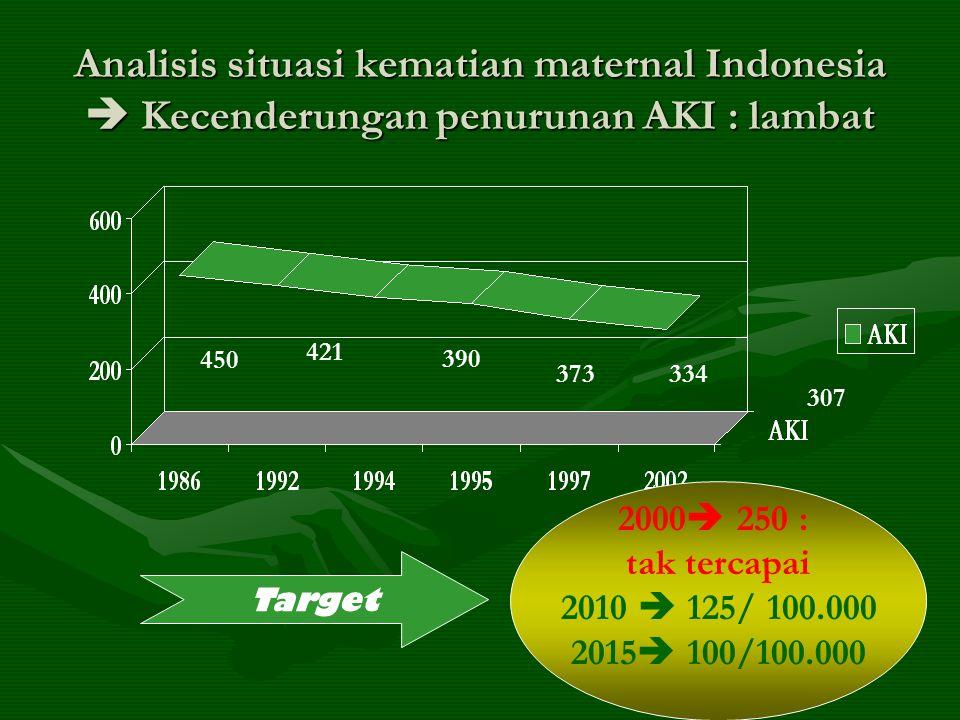Analisis situasi kematian maternal Indonesia  Kecenderungan penurunan AKI : lambat