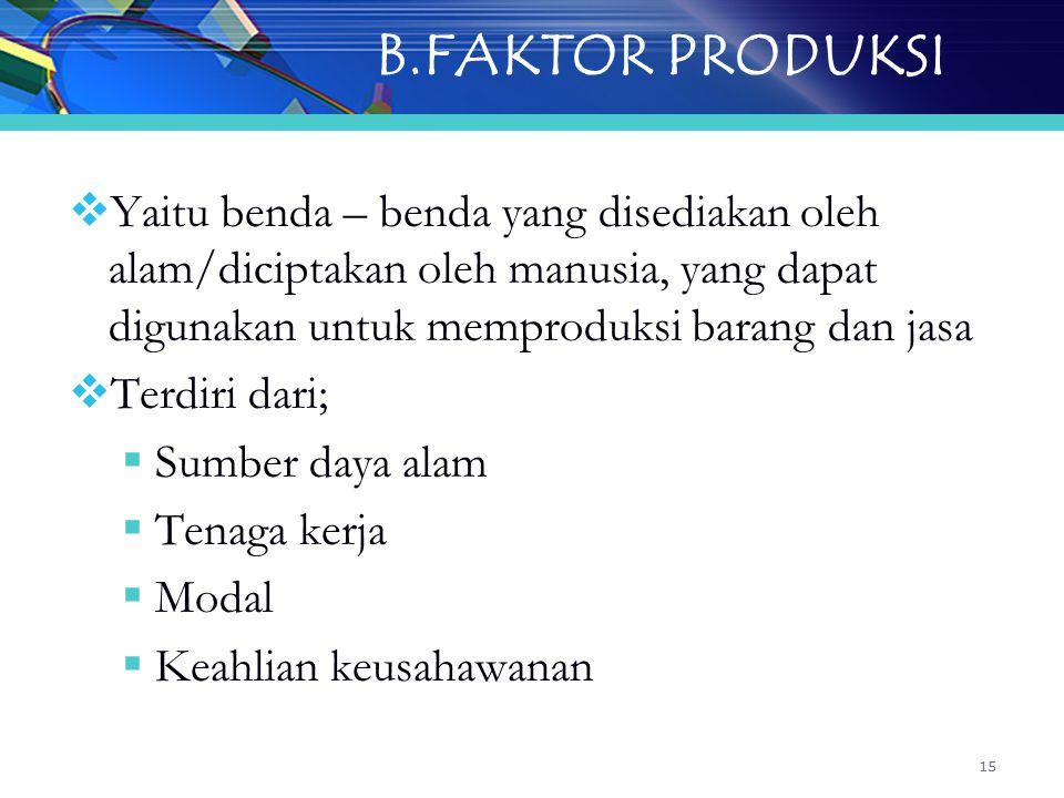 B.FAKTOR PRODUKSI Yaitu benda – benda yang disediakan oleh alam/diciptakan oleh manusia, yang dapat digunakan untuk memproduksi barang dan jasa.