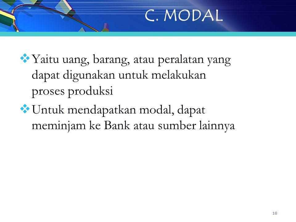 C. MODAL Yaitu uang, barang, atau peralatan yang dapat digunakan untuk melakukan proses produksi.