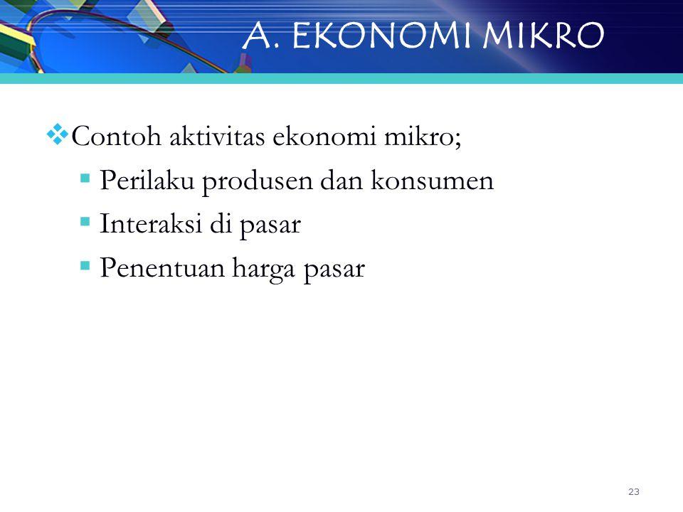 A. EKONOMI MIKRO Contoh aktivitas ekonomi mikro;