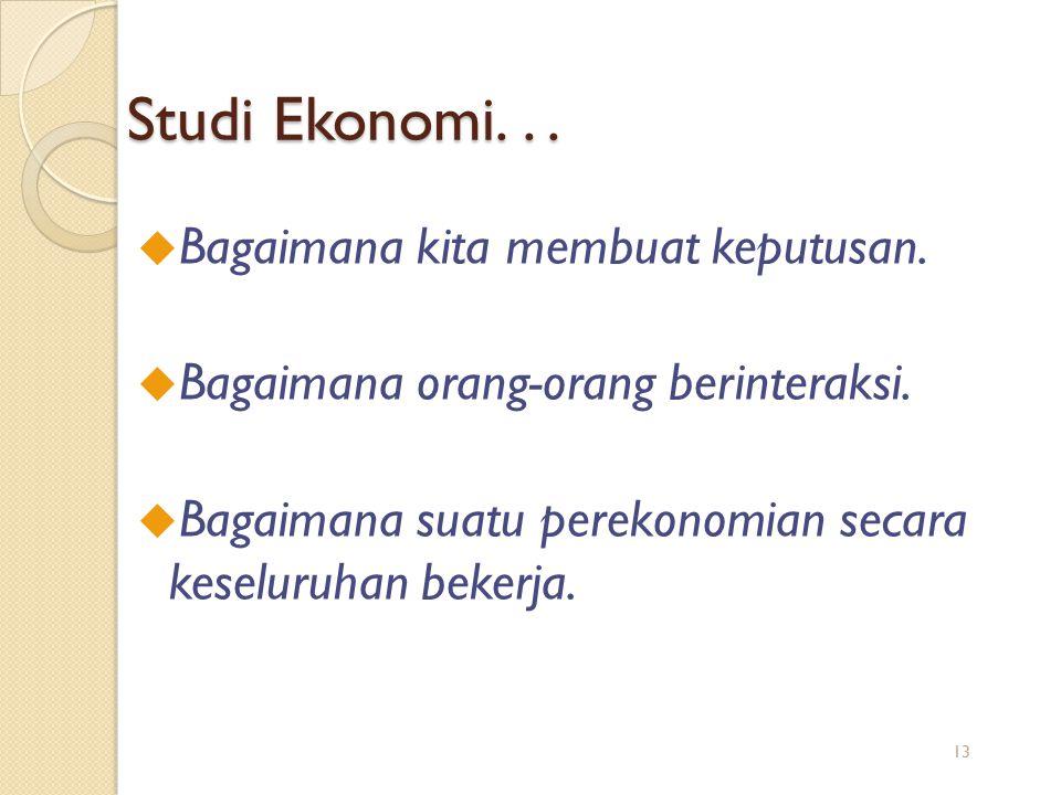Studi Ekonomi. . . Bagaimana kita membuat keputusan.