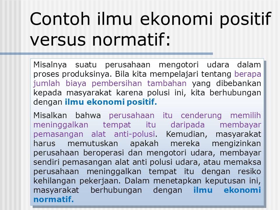 Contoh ilmu ekonomi positif versus normatif: