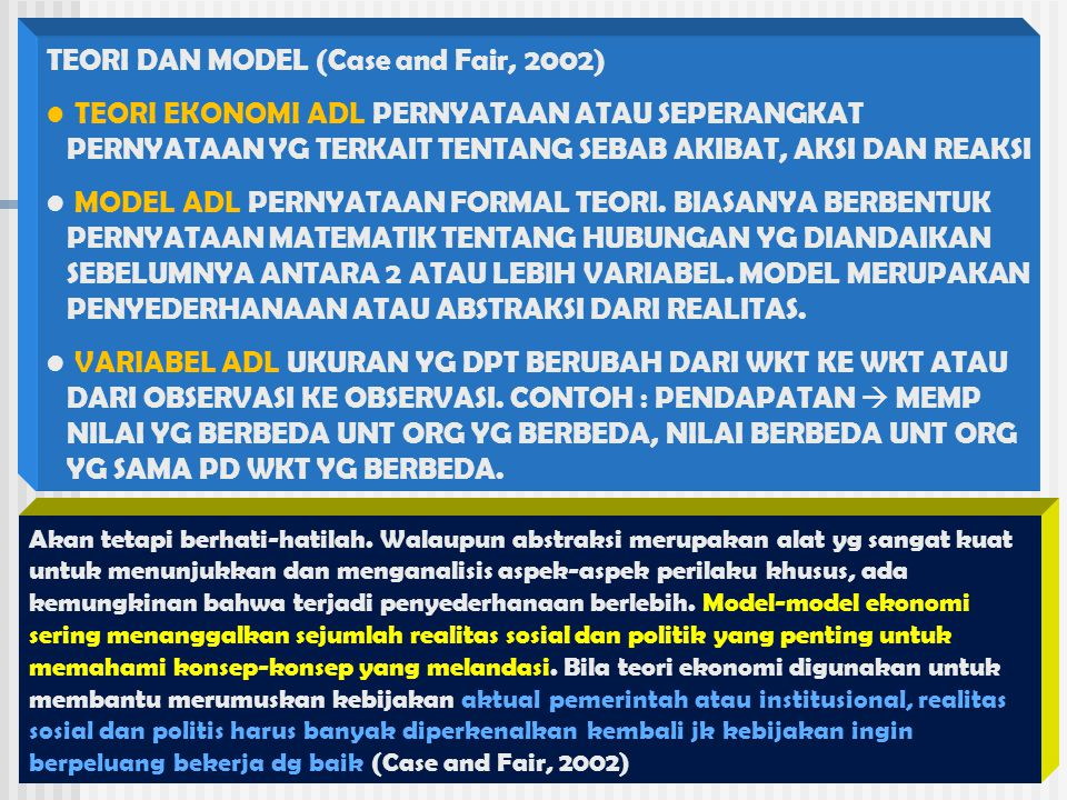 TEORI DAN MODEL (Case and Fair, 2002)