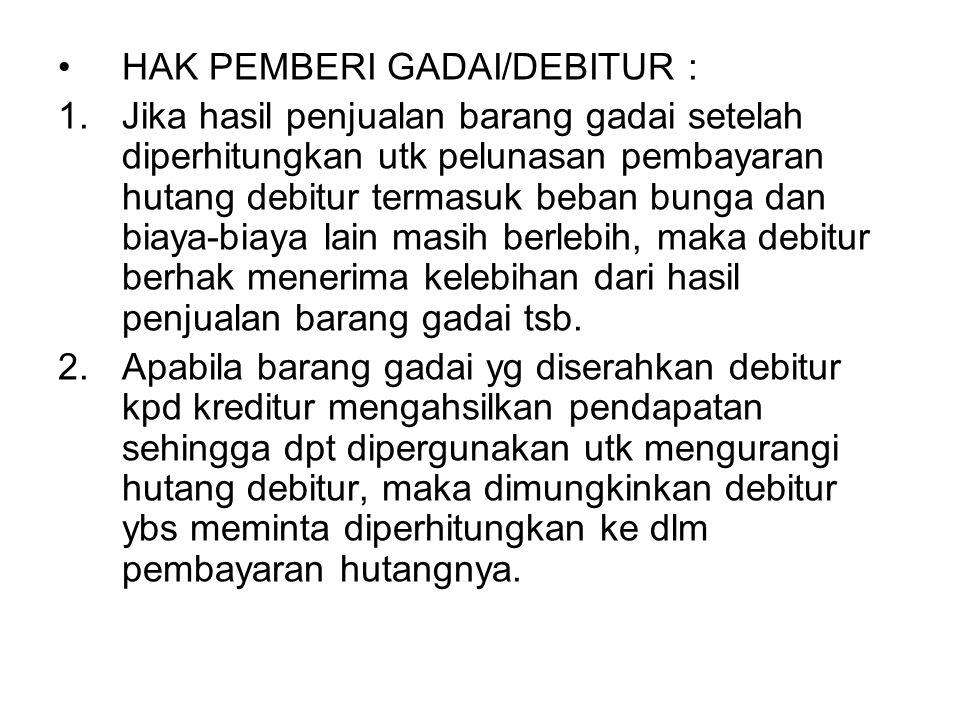 HAK PEMBERI GADAI/DEBITUR :