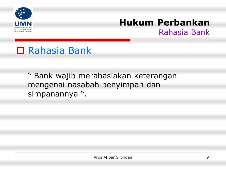 Hukum Perbankan Rahasia Bank
