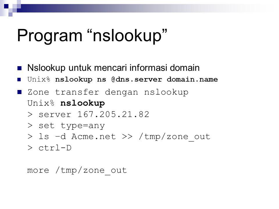 Program nslookup Nslookup untuk mencari informasi domain