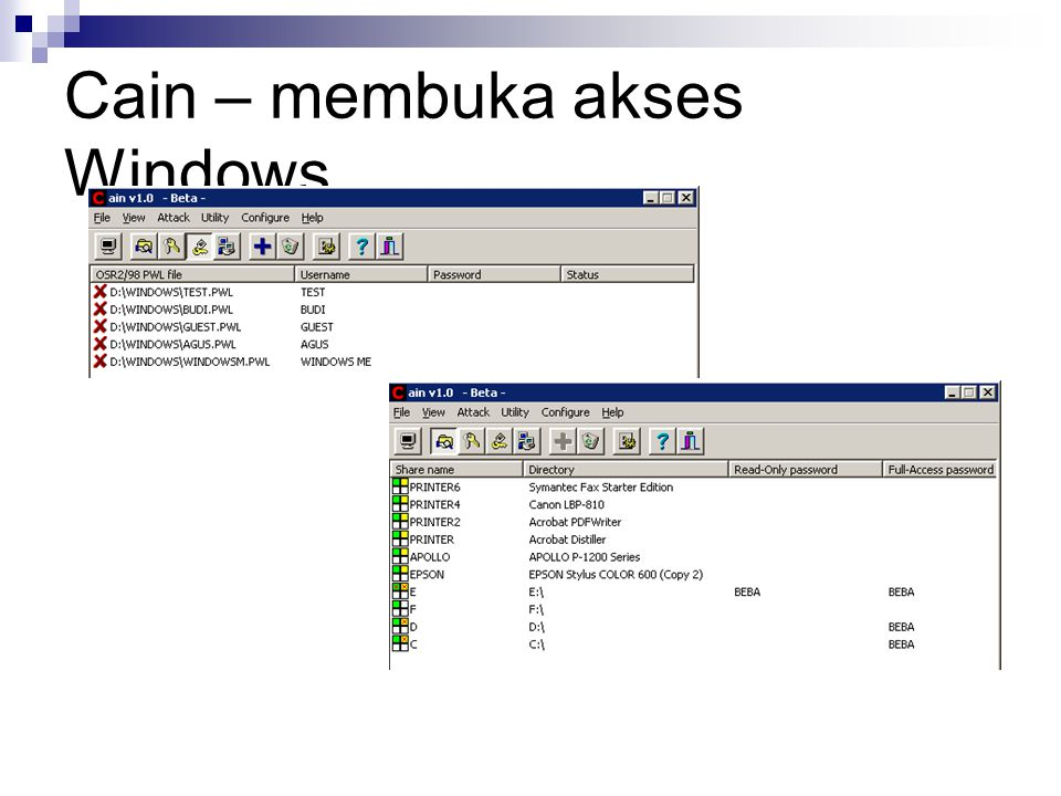 Cain – membuka akses Windows