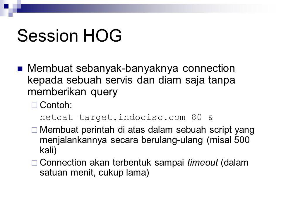 Session HOG Membuat sebanyak-banyaknya connection kepada sebuah servis dan diam saja tanpa memberikan query.