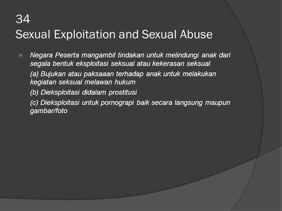34 Sexual Exploitation and Sexual Abuse