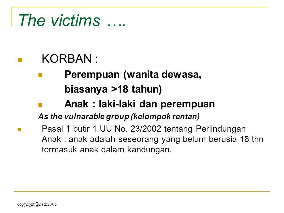 The victims …. KORBAN : Perempuan (wanita dewasa,