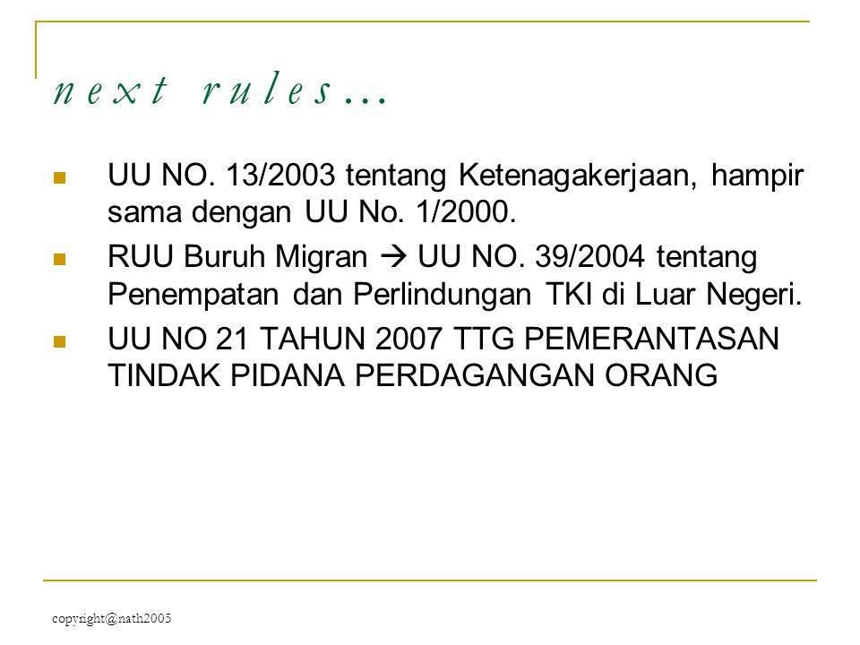 n e x t r u l e s … UU NO. 13/2003 tentang Ketenagakerjaan, hampir sama dengan UU No. 1/2000.