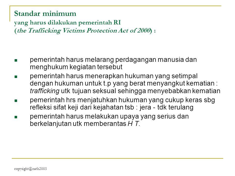 Standar minimum yang harus dilakukan pemerintah RI (the Trafficking Victims Protection Act of 2000) :