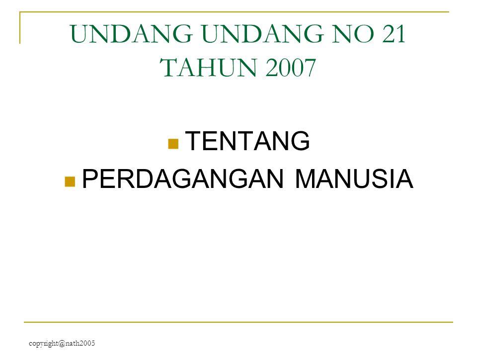 UNDANG UNDANG NO 21 TAHUN 2007 TENTANG PERDAGANGAN MANUSIA