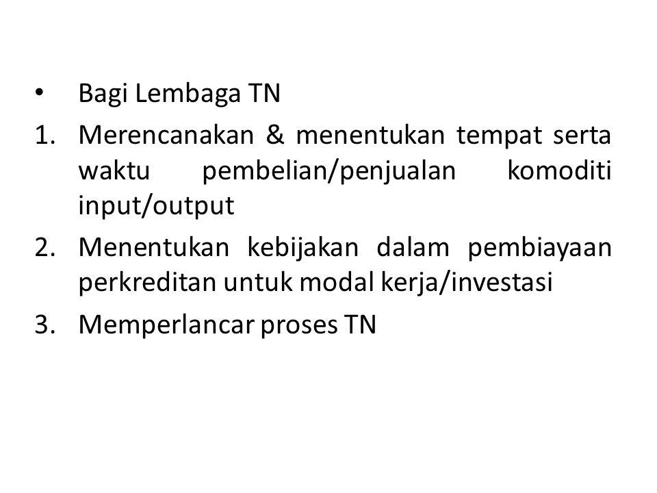 Bagi Lembaga TN Merencanakan & menentukan tempat serta waktu pembelian/penjualan komoditi input/output.