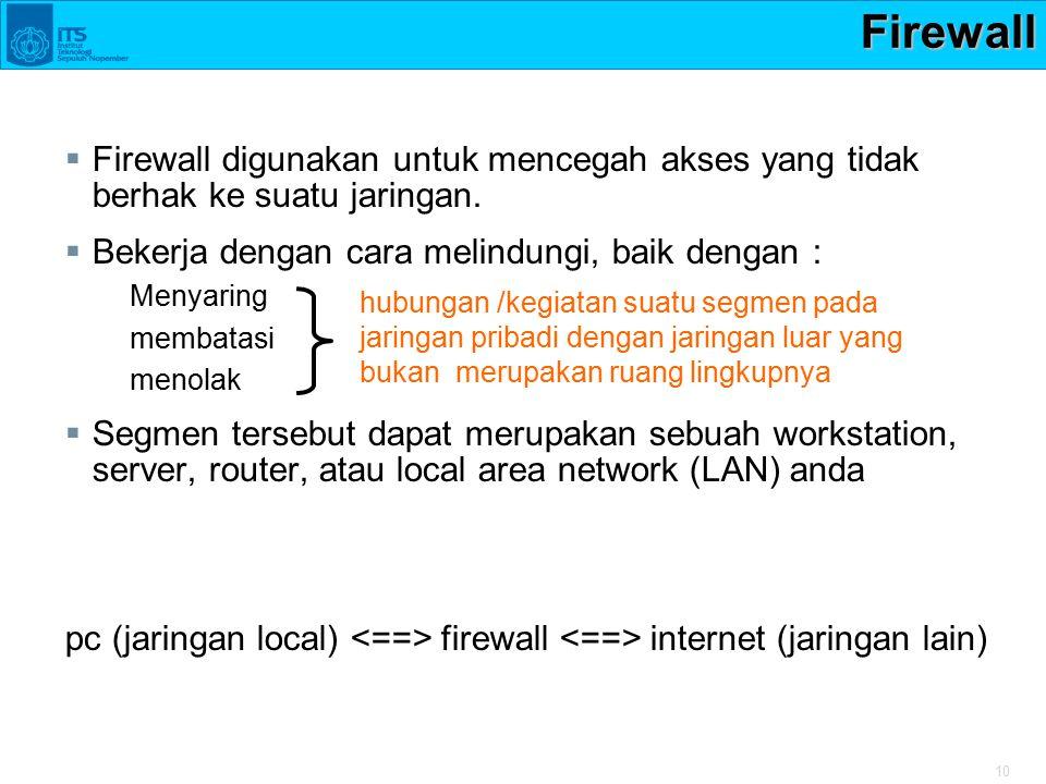 Firewall Firewall digunakan untuk mencegah akses yang tidak berhak ke suatu jaringan. Bekerja dengan cara melindungi, baik dengan :
