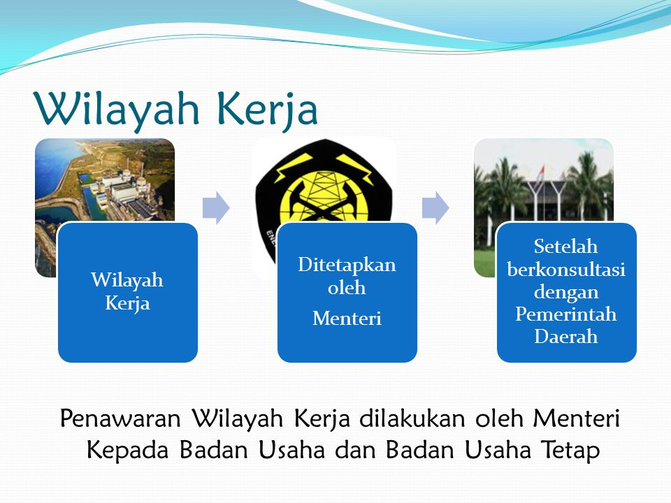 Wilayah Kerja Penawaran Wilayah Kerja dilakukan oleh Menteri