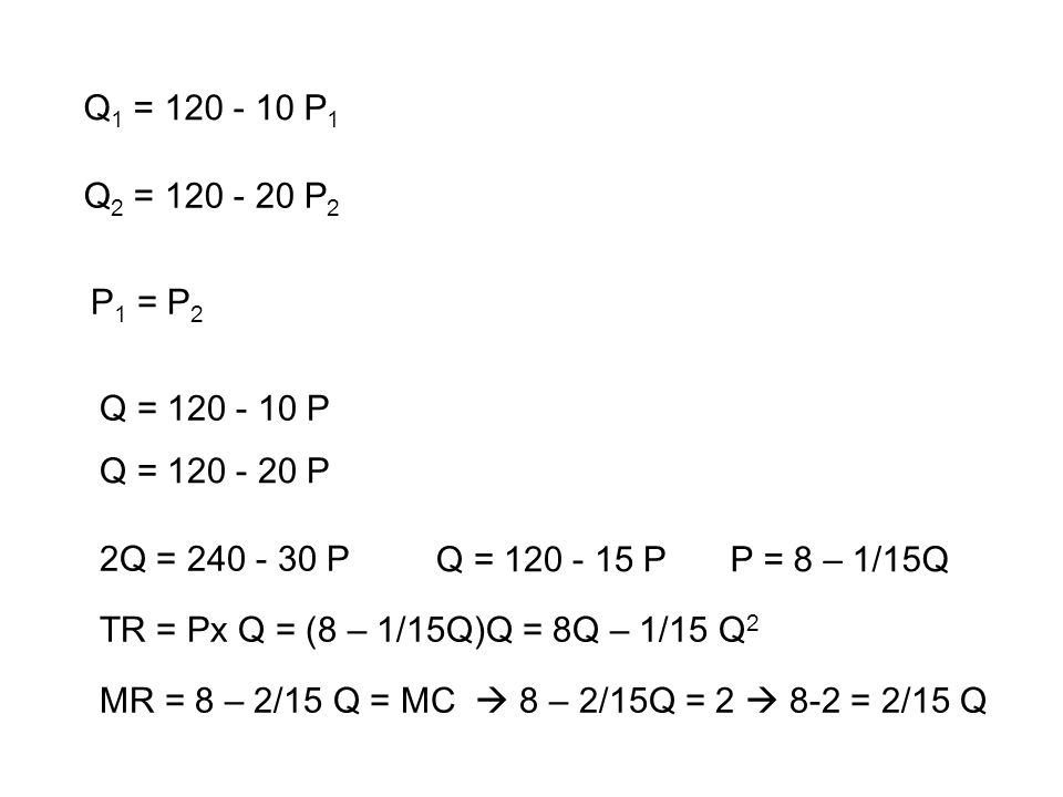 Q1 = 120 - 10 P1 Q2 = 120 - 20 P2. P1 = P2. Q = 120 - 10 P. Q = 120 - 20 P. 2Q = 240 - 30 P. Q = 120 - 15 P.