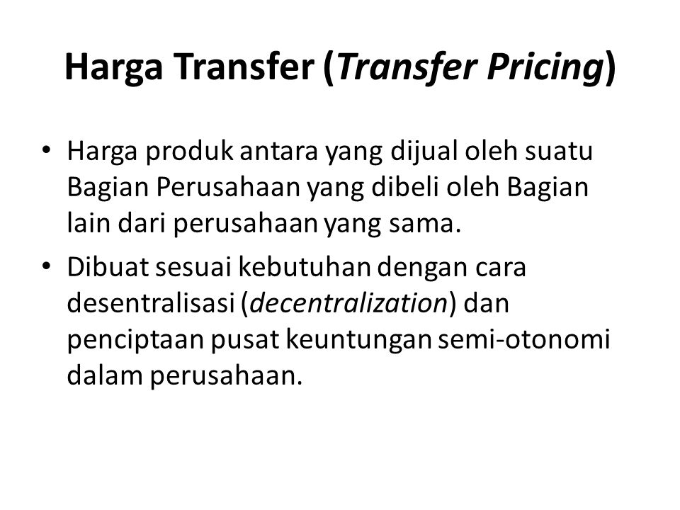Harga Transfer (Transfer Pricing)