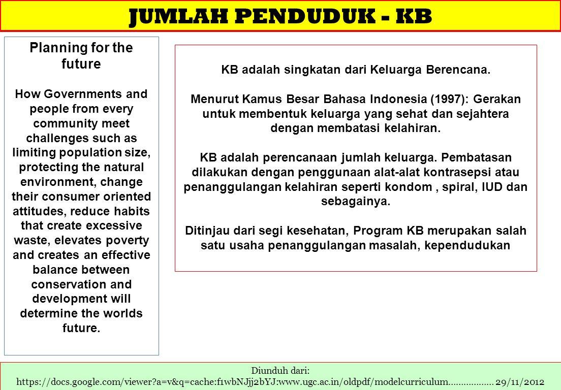 Planning for the future KB adalah singkatan dari Keluarga Berencana.