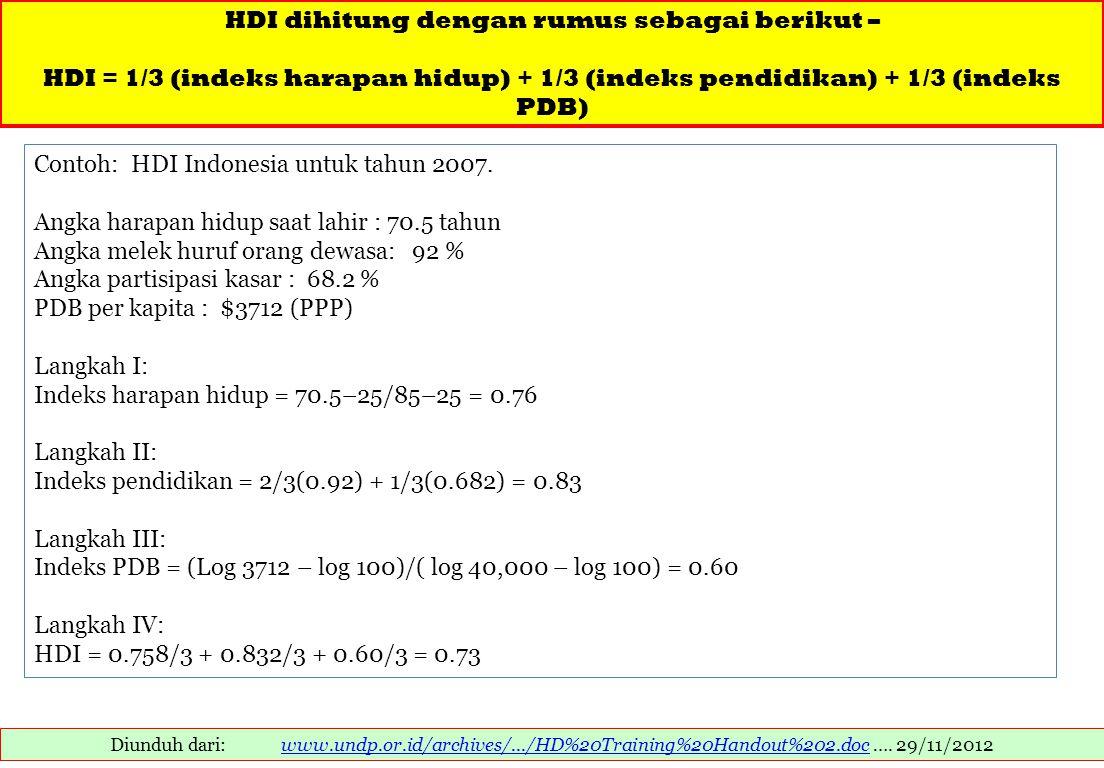 HDI dihitung dengan rumus sebagai berikut –