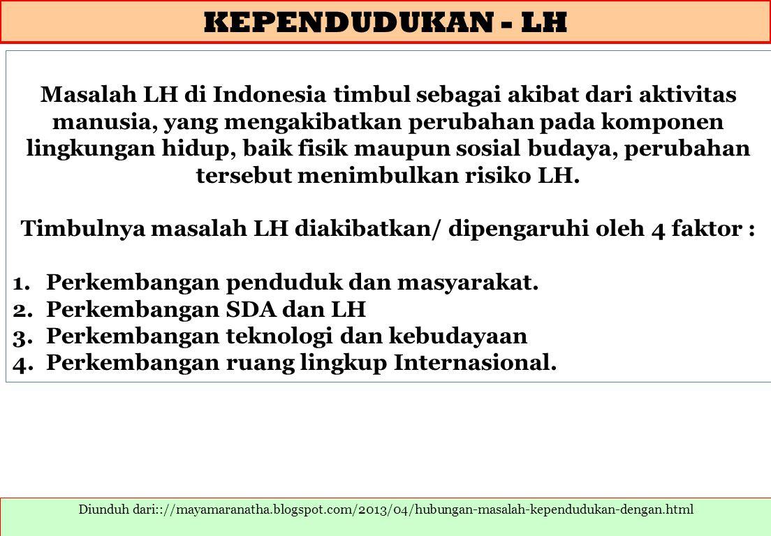 Timbulnya masalah LH diakibatkan/ dipengaruhi oleh 4 faktor :